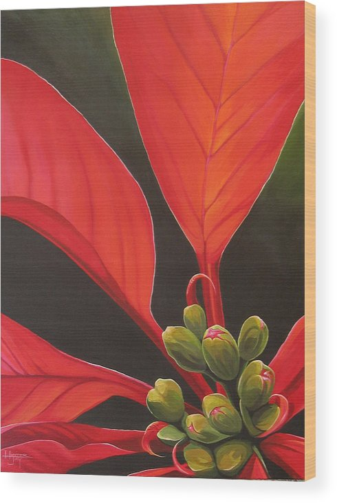 Poinsettia Closeup Wood Print featuring the painting Red Velvet by Hunter Jay