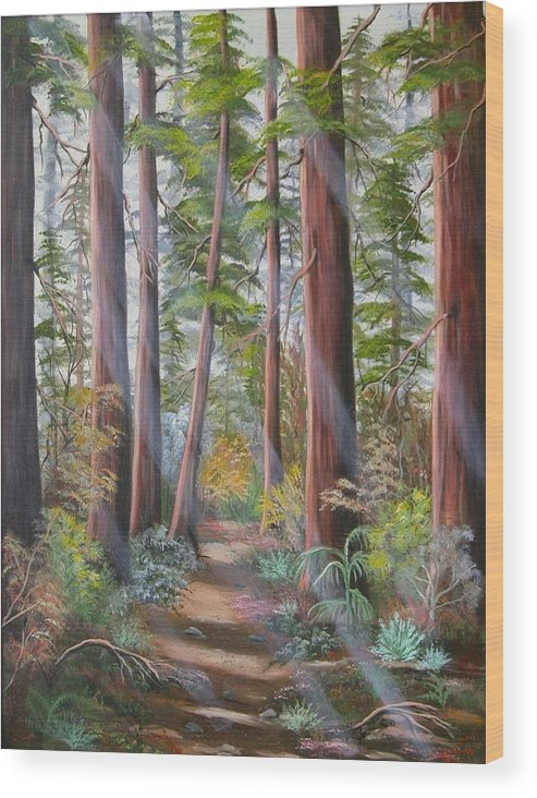 Landscape Wood Print featuring the painting Redwood Path by Joni McPherson