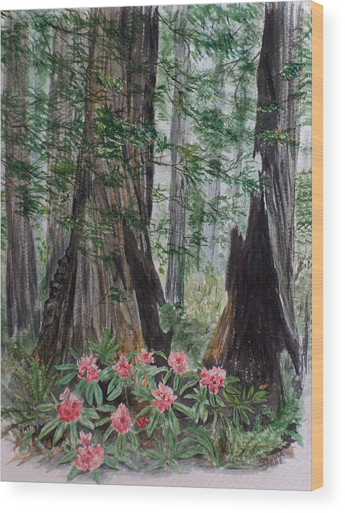 Redwood Wood Print featuring the painting Redwoods by Sylvia Stone
