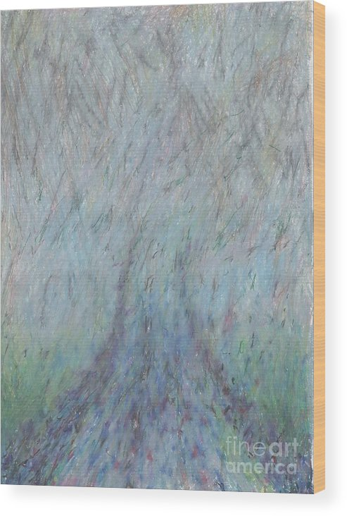 Fog Wood Print featuring the drawing Running Into Fog by Andy Mercer