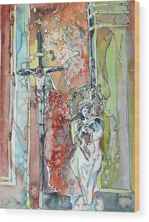 Jesus Wood Print featuring the painting Saint Cecilia Ronda Spain by Mindy Newman