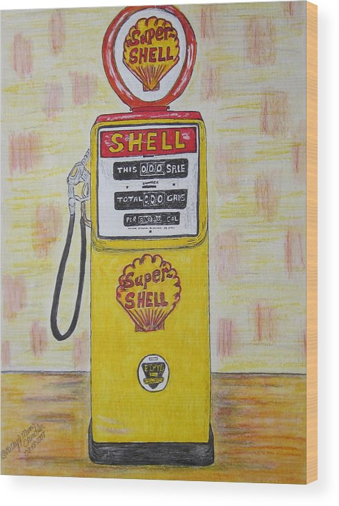 Super Shell Wood Print featuring the painting Shell Gas Pump by Kathy Marrs Chandler