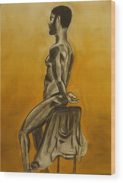 Nude Models Wood Print featuring the drawing Sitting Alone by Kathleen Fitzpatrick