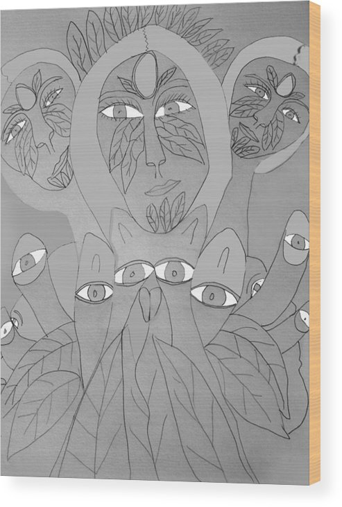 Wood Print featuring the drawing Sketch Idea For Wild Look by Betty Roberts