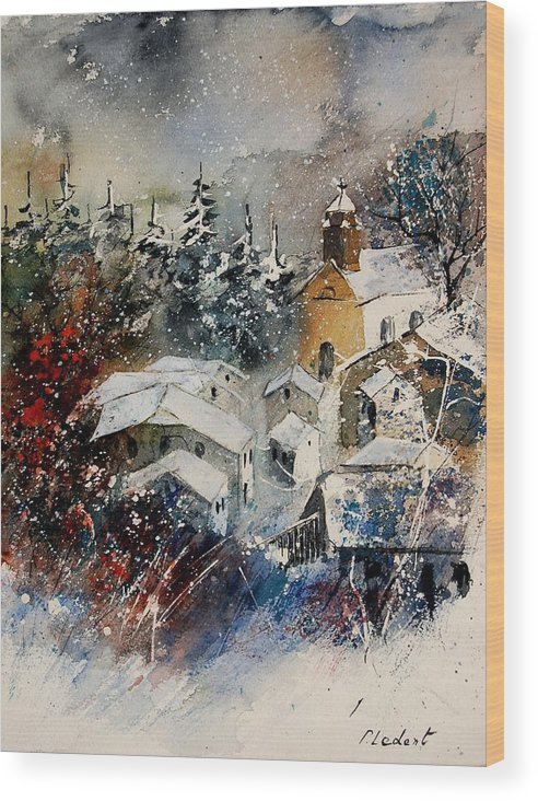 Landscape Wood Print featuring the painting Snon In Frahan by Pol Ledent
