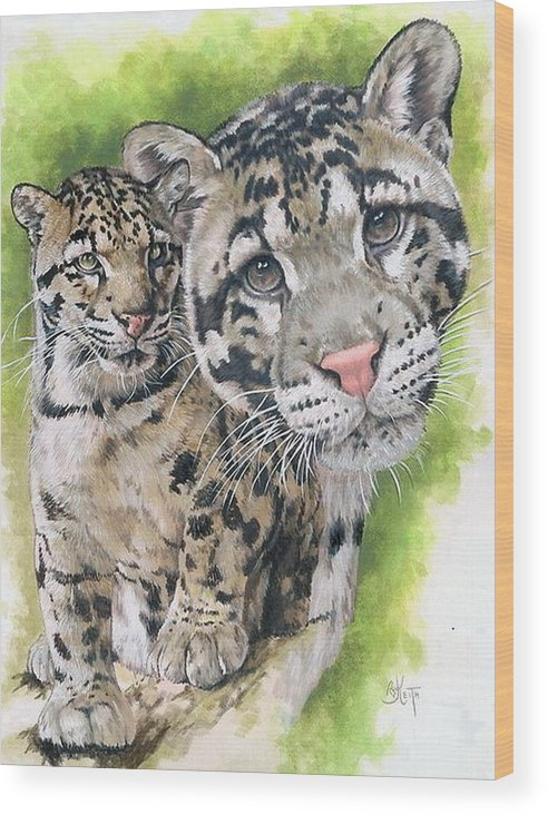 Clouded Leopard Wood Print featuring the mixed media Sovereignty by Barbara Keith