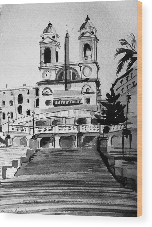 Ink Wood Print featuring the painting Spanish Steps by Laura Rispoli