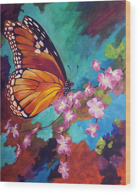 Butterfly Wood Print featuring the painting Spring Morning by Karen Dukes