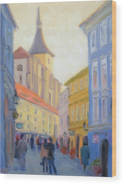 Prague Wood Print featuring the painting Sunday Stroll - Prague by Bunny Oliver