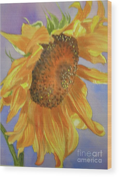 Sunflower Wood Print featuring the painting Sunflower by Midge Pippel