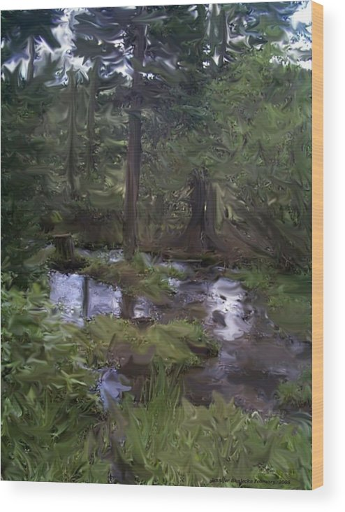 Landscape Wood Print featuring the digital art Sunny Woods by Jennifer Skalecke