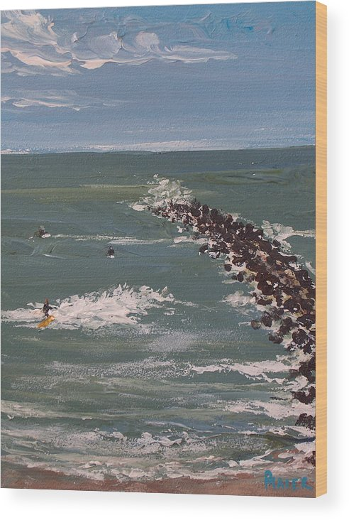 Seascape Wood Print featuring the painting Surf's Up by Pete Maier