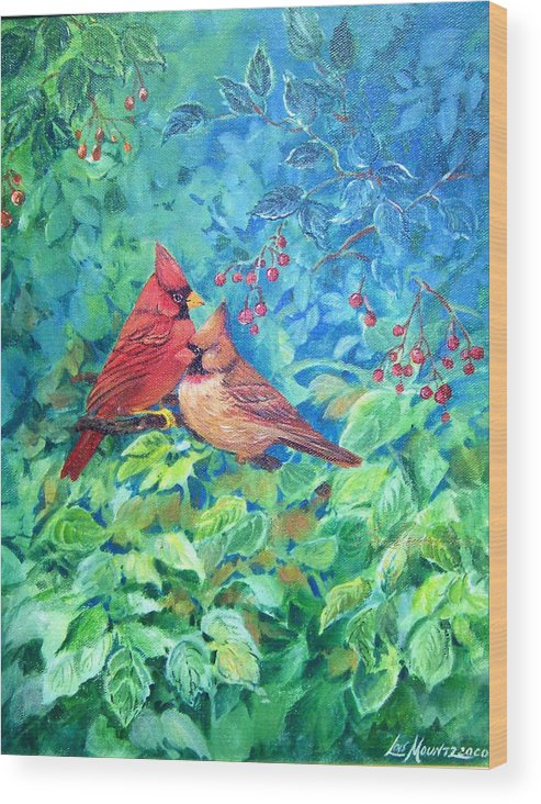 Cardinals;birds;berries; Wood Print featuring the painting Sweet Contentment by Lois Mountz