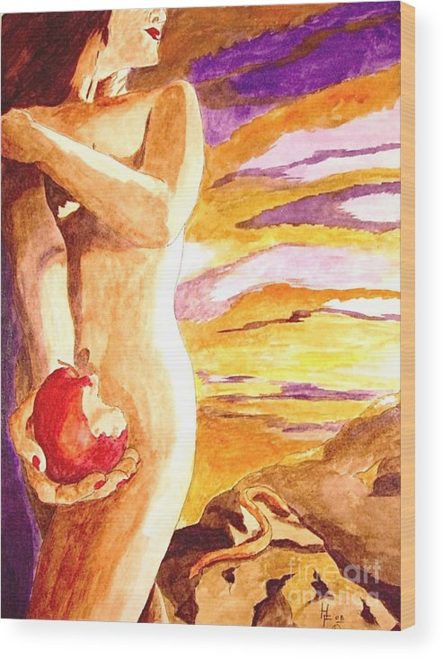 Watercolor Wood Print featuring the painting Temptation by Herschel Fall