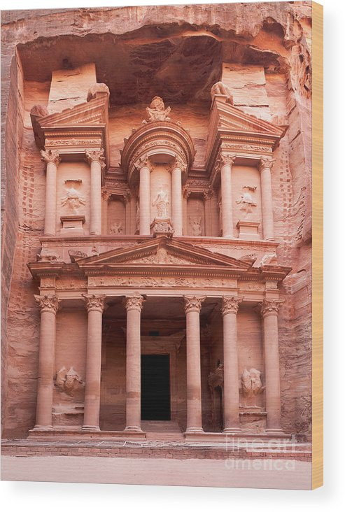 Red Wood Print featuring the photograph The Ancient Treasury Petra by Jane Rix
