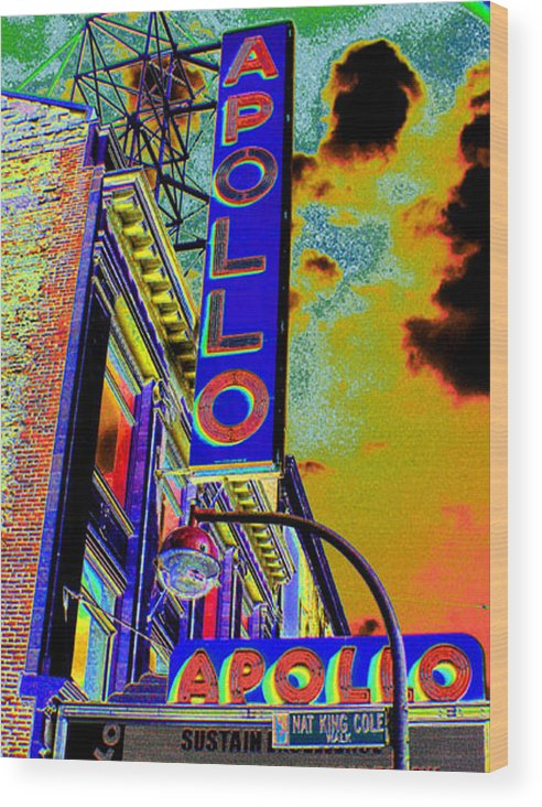 Harlem Wood Print featuring the photograph The Apollo by Steven Huszar
