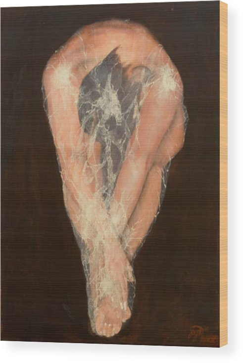 Figurative Wood Print featuring the painting The Chrysalis by Jane Simpson