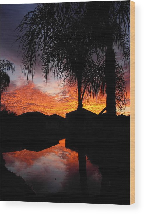 Sunsets Wood Print featuring the photograph The Devil's Reflection by Amanda Vouglas