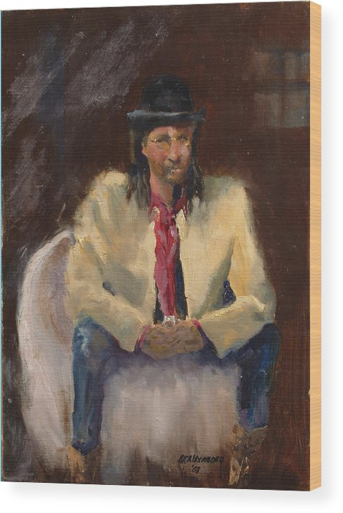 Figurative Wood Print featuring the painting The Gambler by Bryan Alexander