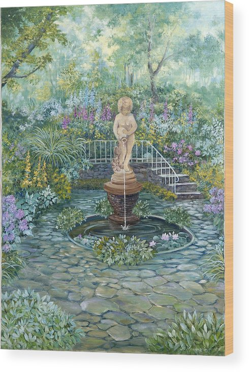 Fountain;statue;lily Pond;garden;oil Painting; Wood Print featuring the painting The Garden Triptych Middle Painting by Lois Mountz