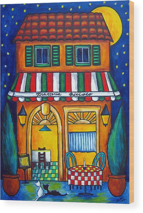 Blue Wood Print featuring the painting The Little Trattoria by Lisa Lorenz