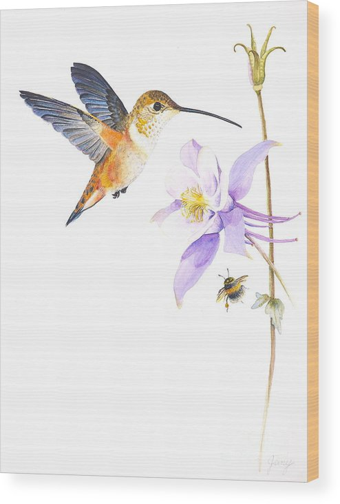 Hummingbird Wood Print featuring the painting The Nectar Hunt by Jany Schindler