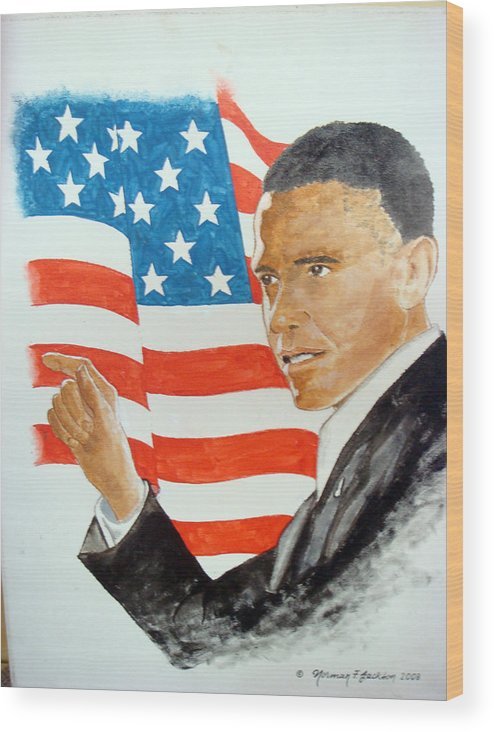 Obama Wood Print featuring the painting The New America by Norman F Jackson