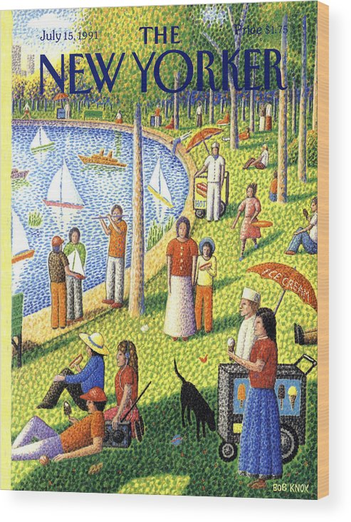 La Grande Jatte Wood Print featuring the painting The New Yorker July 15th, 1991 by Bob Knox
