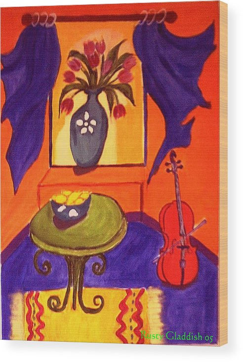 Cello Wood Print featuring the painting The Red Cello by Rusty Gladdish