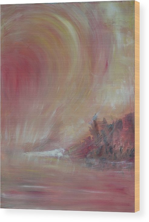 Abstract Wood Print featuring the painting The Universe by Taly Bar