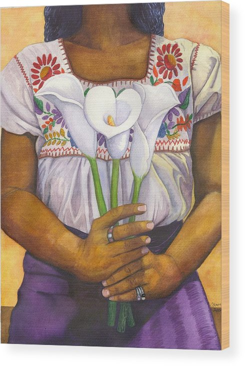 Lily Wood Print featuring the painting Three Calla Lilies by Catherine G McElroy