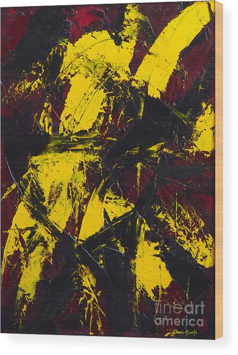 Abstract Wood Print featuring the painting Transitions With Yelllow And Black by Dean Triolo