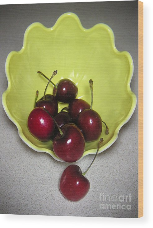 Nature Wood Print featuring the photograph Tumbling Cherries by Lucyna A M Green