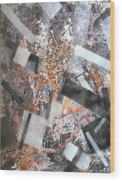 Abstract Wood Print featuring the painting Under Construction by Evguenia Men
