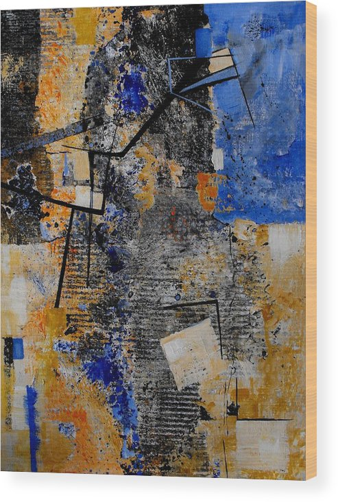 Abstract Wood Print featuring the painting Under Construction by Ruth Palmer