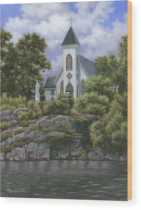 Church Wood Print featuring the painting Upon This Rock by Richard De Wolfe