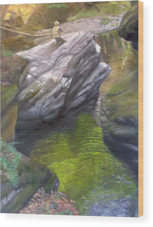 Landscape Wood Print featuring the painting Vermont Fisherman by Laurel Ellis