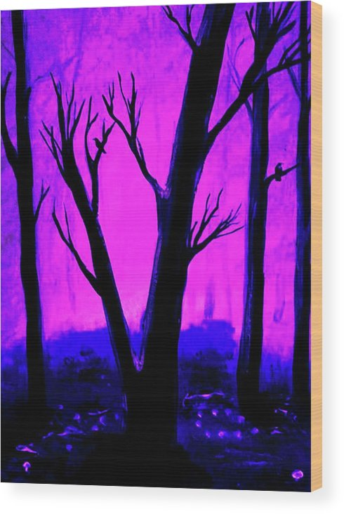 Purple Wood Print featuring the painting Walk Into The Light by Krista May