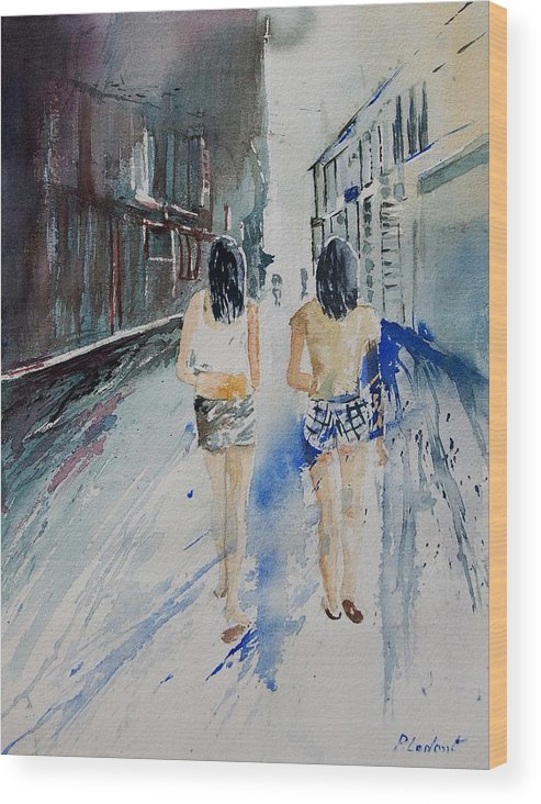 Girl Wood Print featuring the painting Walking In The Street by Pol Ledent