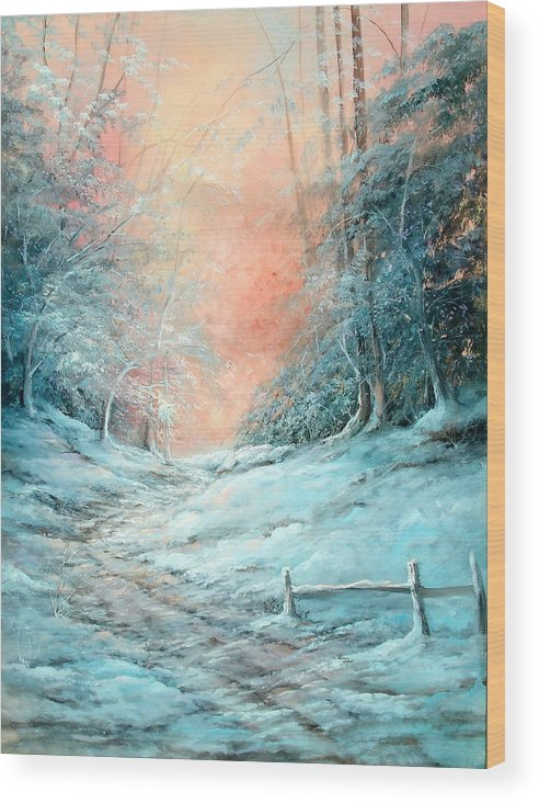 Winter Wood Print featuring the painting Warm Winter Fantasy by Sally Seago