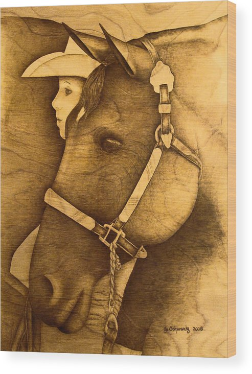 Pyrography;wood Burning; Horse; Western; Halter;cowboy; Hat; Rodeo; Wood Print featuring the pyrography Watching The Competition by Jo Schwartz