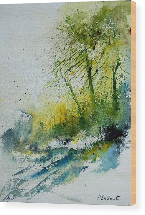 River Wood Print featuring the painting Watercolor 181207 by Pol Ledent