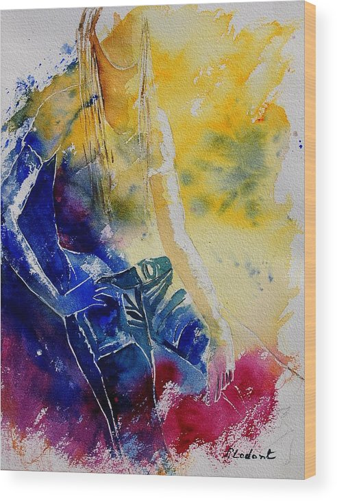 Girl Nude Wood Print featuring the painting Watercolor 21546 by Pol Ledent