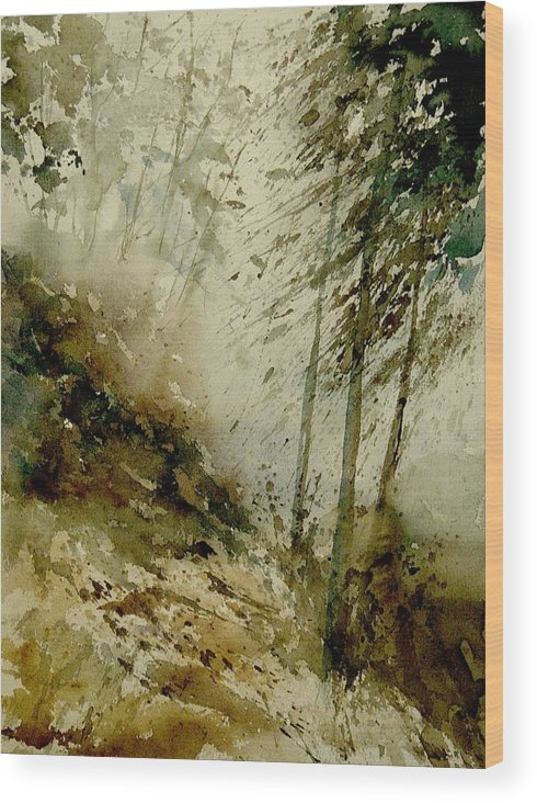 Landscape Wood Print featuring the painting Watercolor Misty Atmosphere by Pol Ledent