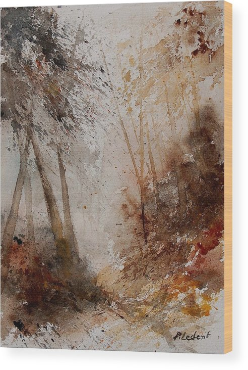 Landscape Wood Print featuring the painting Watercolor Misty Path by Pol Ledent