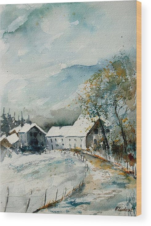 River Wood Print featuring the painting Watercolor Sechery 1207 by Pol Ledent
