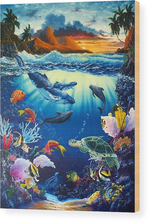Whale Wood Print featuring the painting Waves Of Light by Daniel Bergren