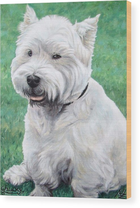 Dog Wood Print featuring the painting West Highland Terrier by Nicole Zeug