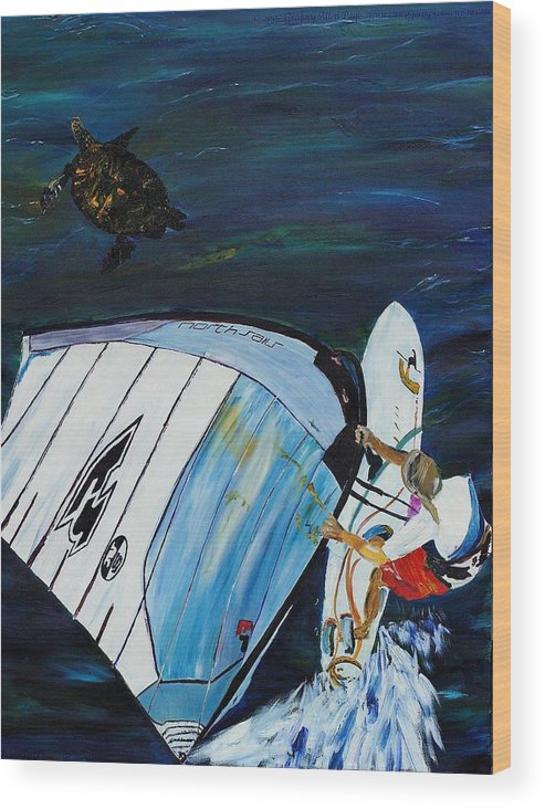 Windsrfing Wood Print featuring the painting Windsurfing And Sea Turtle by Gregory Allen Page