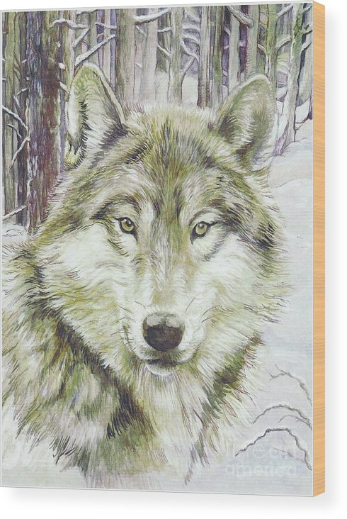 Wolf Wood Print featuring the painting Wolf Head by Morgan Fitzsimons
